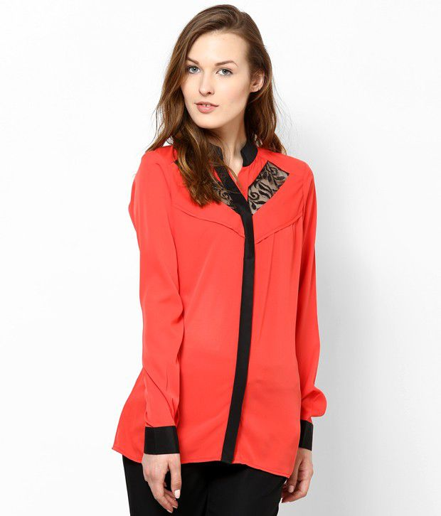 Athena Red Poly Crepe Shirts
