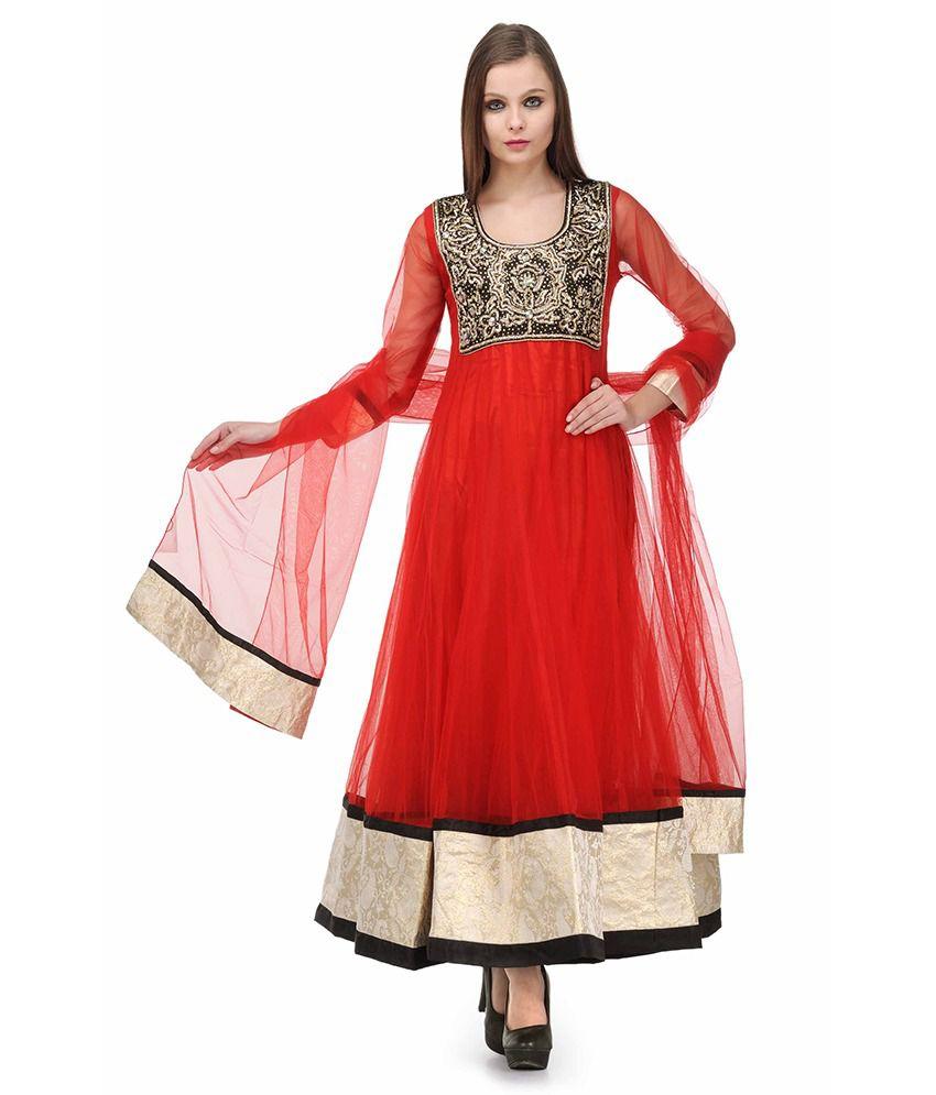 Aujjessa Red Embroidered Net Stitched Anarkali  Salwar Suit