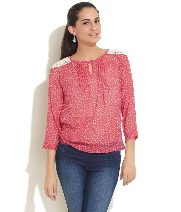 NOI Pink Polyester Top