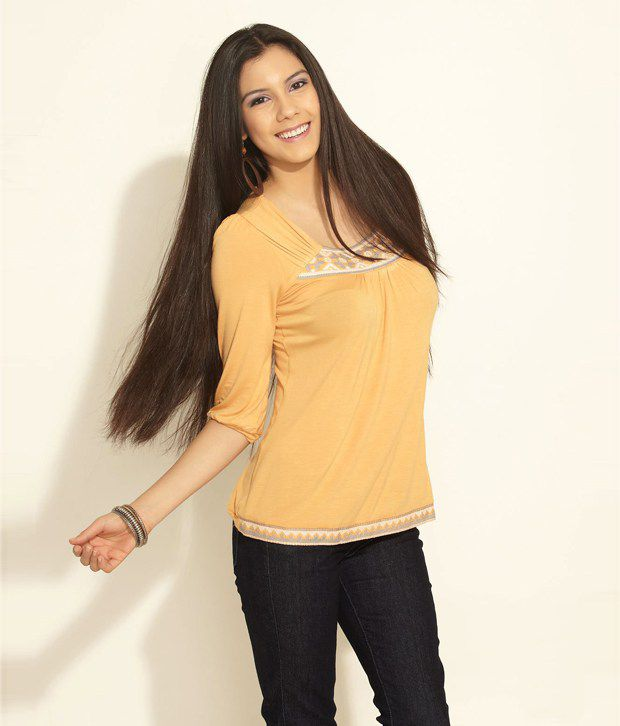 AND Yellow Polyester Top