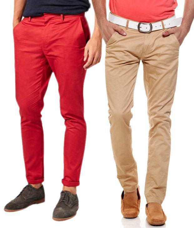 Fashion Beige Regular Casuals Chinos