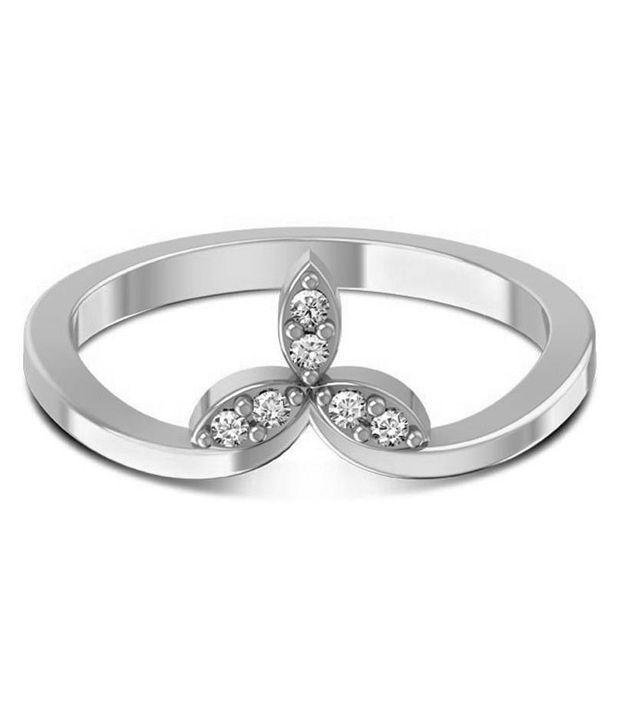Jewel Hub SI-IJ Diamond Ring 0.12 ct /1.85 gm 18k White Gold