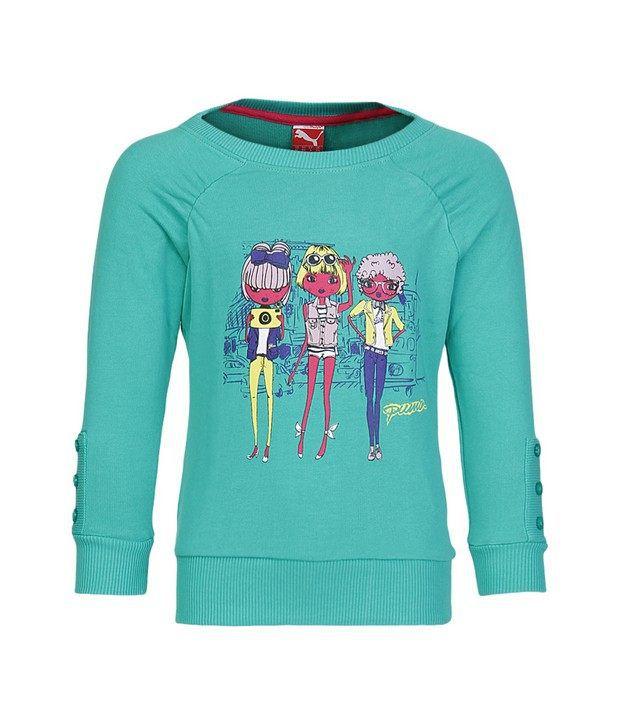 Puma Green Sweatshirt For Girls