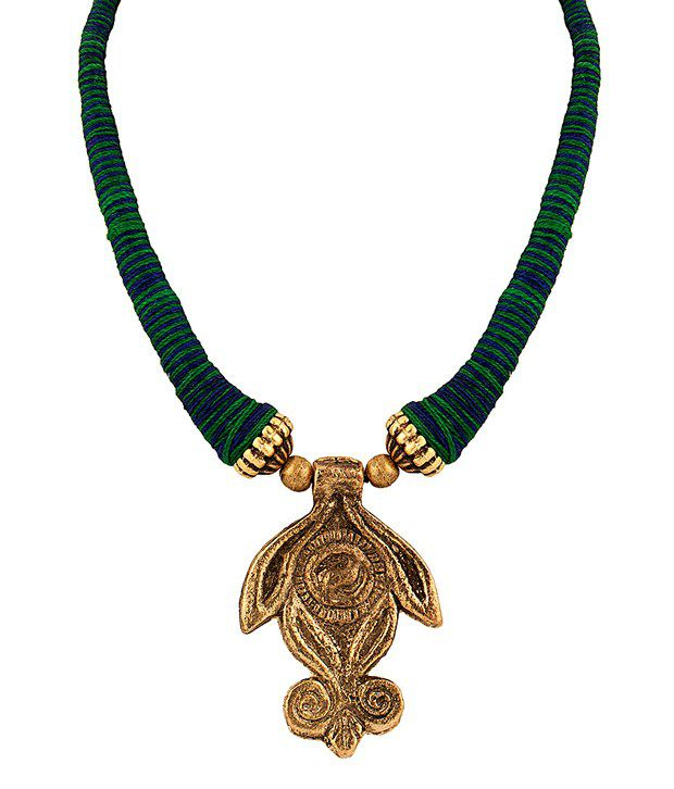 Voylla Classy Necklace Featuring Rustic Pendant with Blue, Green Threaded String