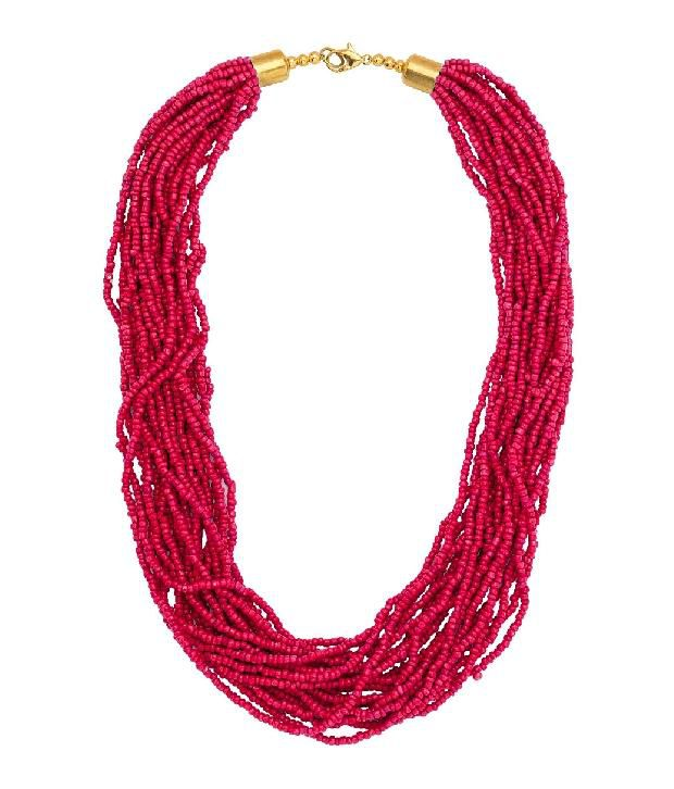 Voylla Hot Pink Beaded Necklace With Multilayers of Tiny Beads