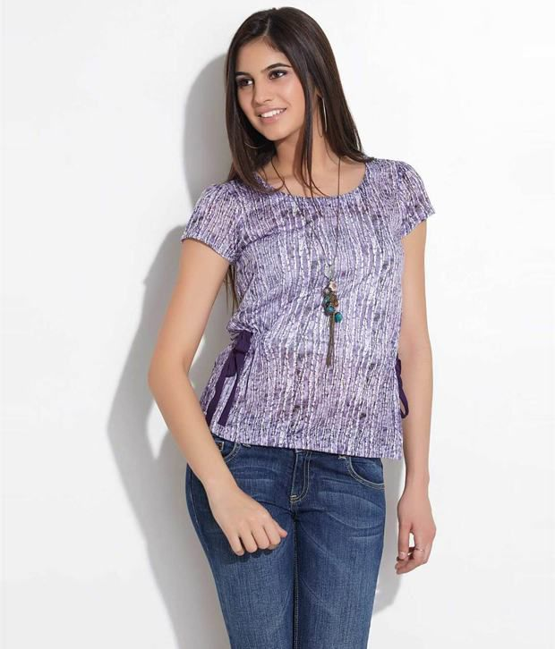 Wills Lifestyle Purple Polyester Top