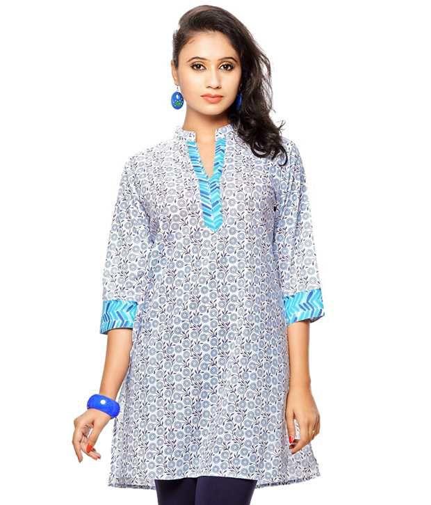 Purab Paschim Blue Printed Cotton 3/4th Sleeves Medium  Kurti