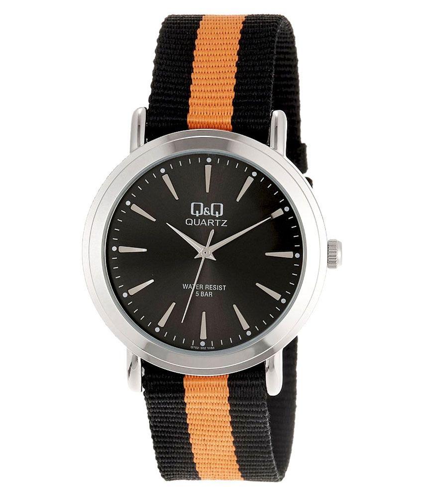 q q analog watch for men black orange q752j302y buy q q q q analog watch for men black orange q752j302y