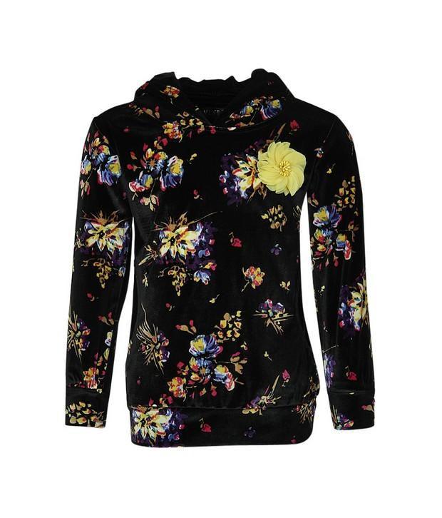 Vine Black Sweatshirt For Girls