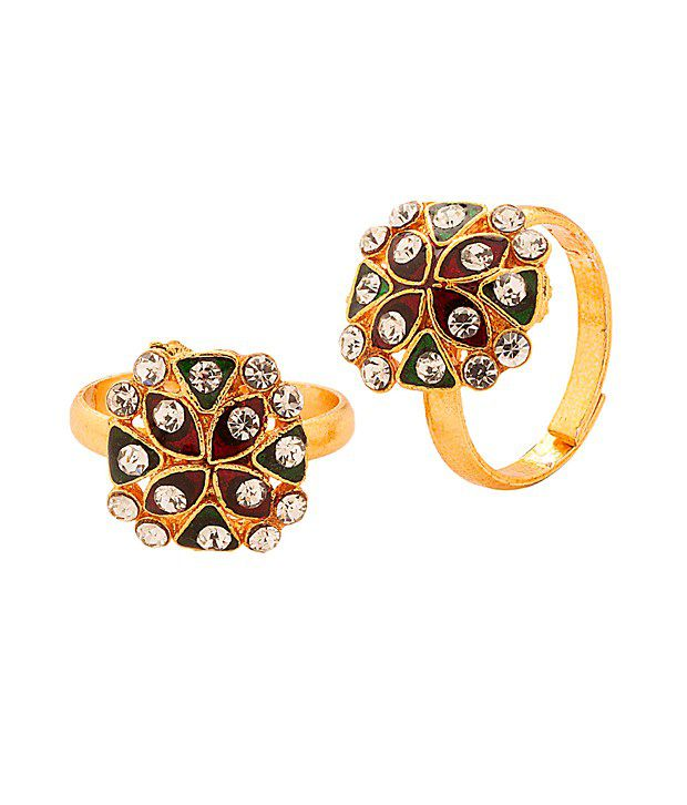 Voylla Gold Tone Toerings Featuring Sparkling Crystals