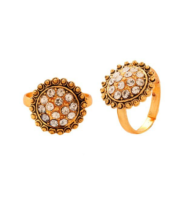 Voylla Gold Tone Toerings with Sparkling Crystals Studded Design