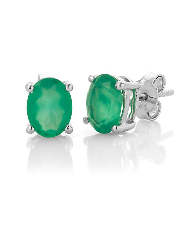 Voylla Studs with Oval Green Onyx
