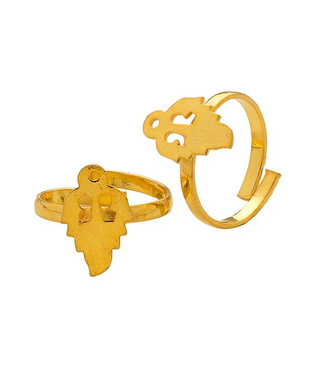 Voylla Toe Ring Pair with Flame Inspired Design