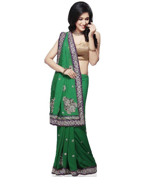 Utsav Fashion Green Faux Georgette Saree