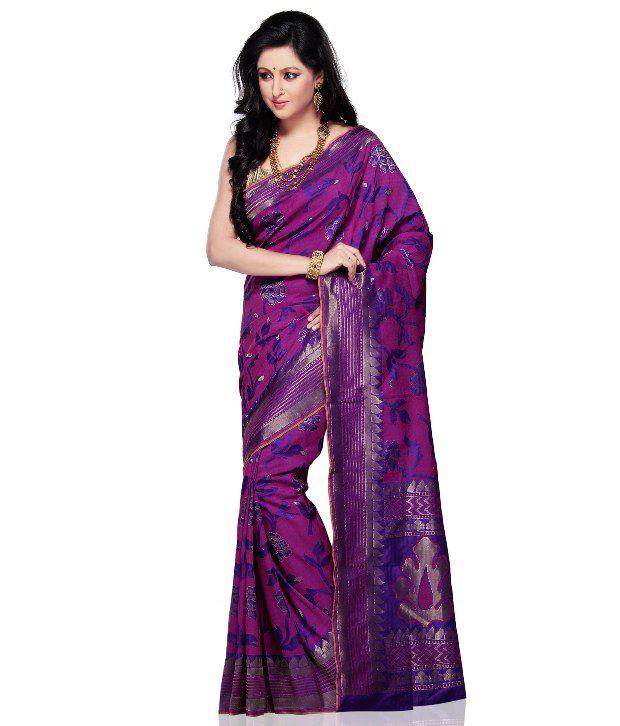 Utsav Fashion Purple Printed Silk  Saree
