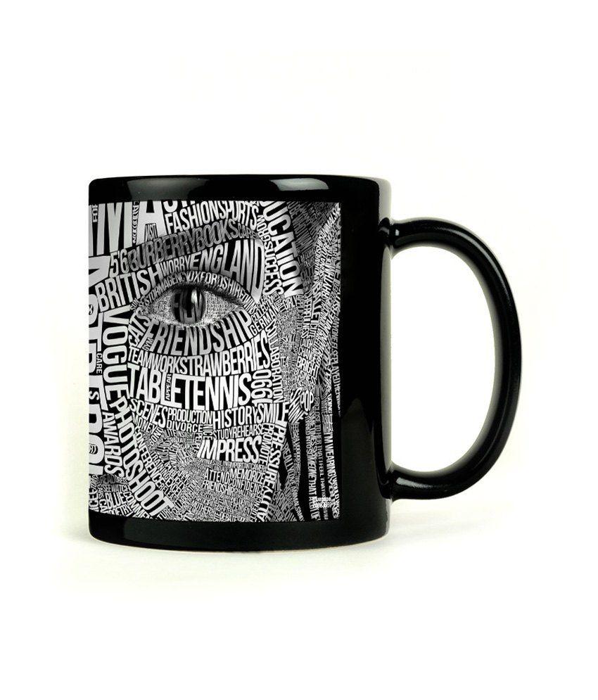 Bluegape Face Typography Black Mug