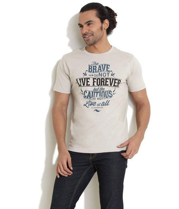 Elaborado Beige Half Cotton Round  T-Shirt