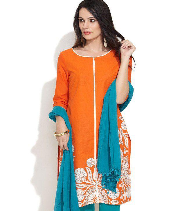 W Orange Printed Cotton 3/4th Medium Kurti