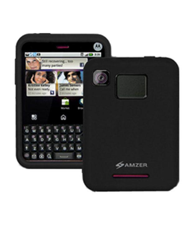 Amzer 89210 Silicone Case Black For Motorola Charm MB502