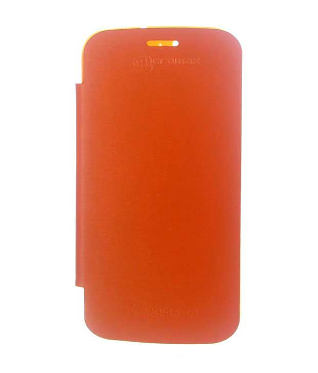 Dressmyphone Micromax Canvas 4 Flip Cover with Back Panel - Orange