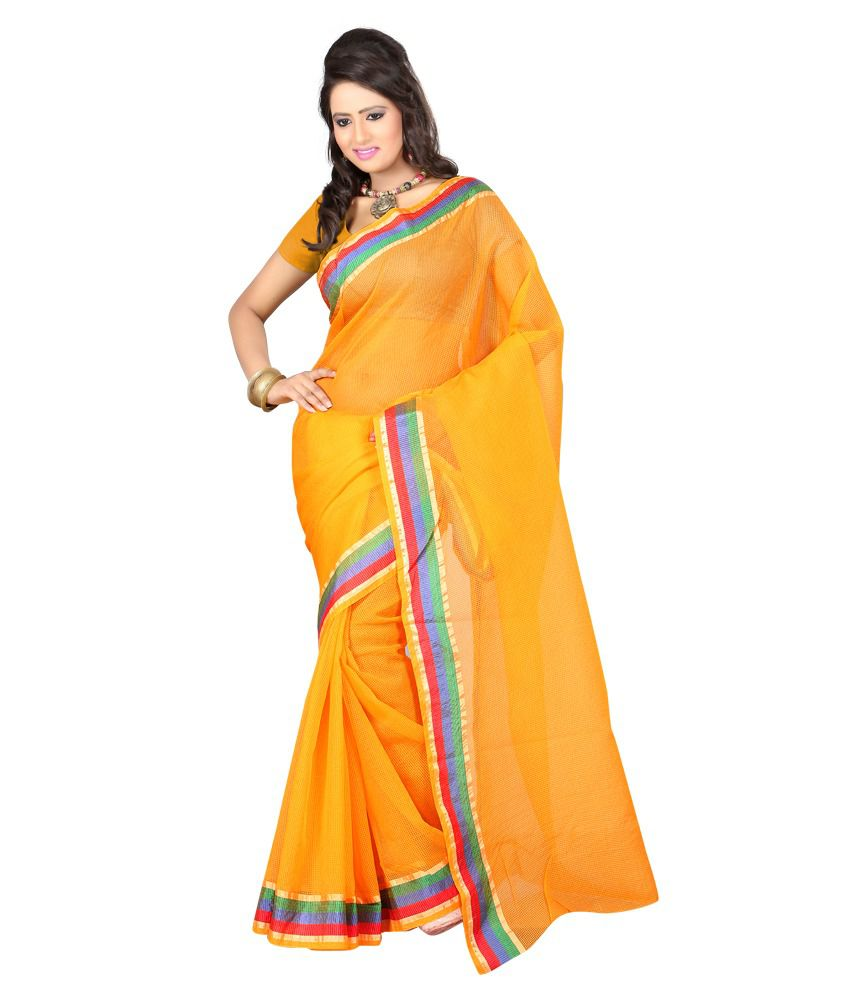 Sanju Sarees Yellow Tussar Silk Saree