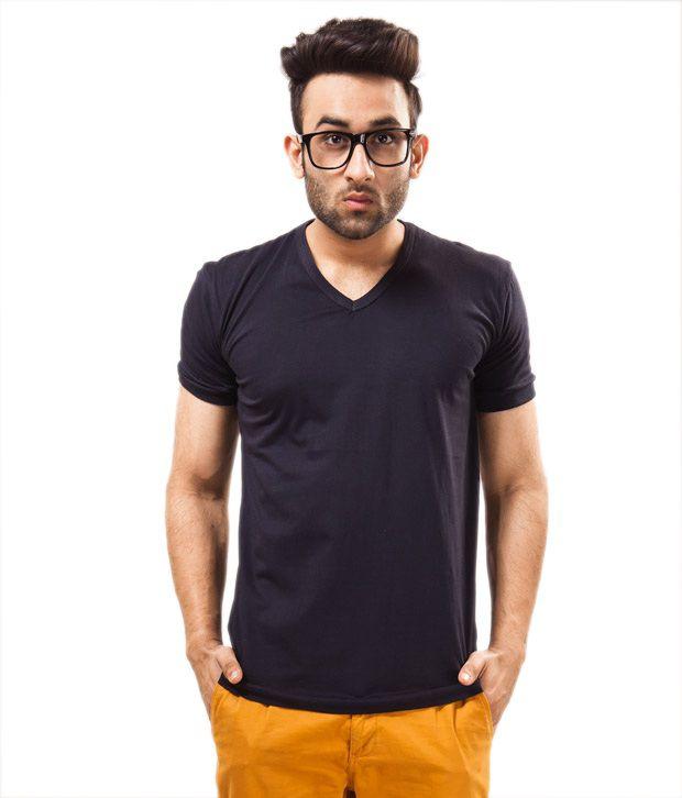Unisopent Designs Purple Half   Cotton V-Neck  T-Shirt