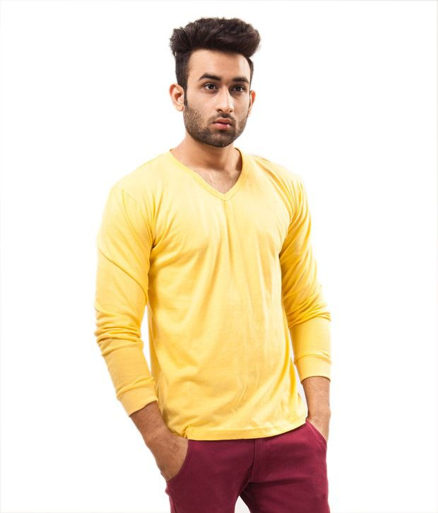 Unisopent Designs Yellow Full   Cotton V-Neck  T-Shirt