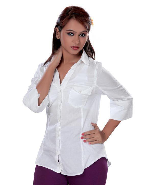 Vivante White Solids Cotton Full Regular Collar Shirts