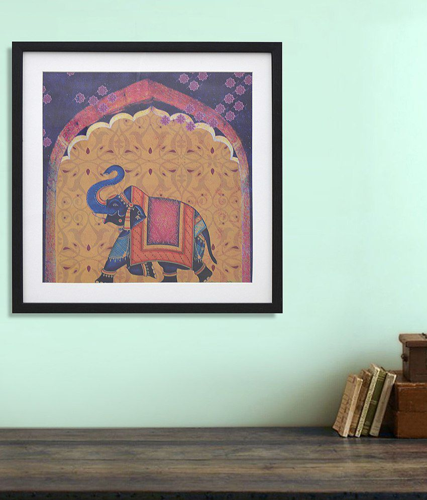 @Home Decorated Elephant Yellow and Purple Wood and Glass Animal Paintings (1 Pc)