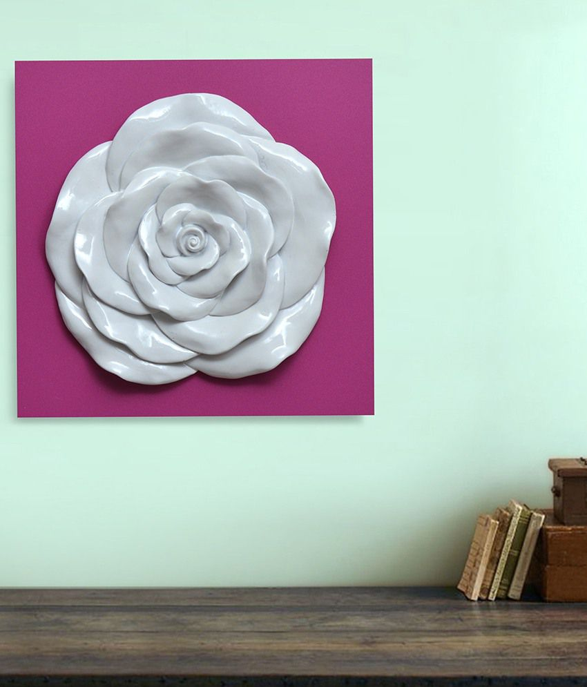 @Home Flower White and Purple Wood and Ceramic Paintings-Floral (1 Pc)