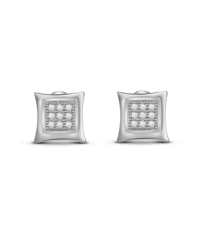 Diamond Accent Micro Pave Cluster Set Heart Stud Earrings In 925Sterling Silver