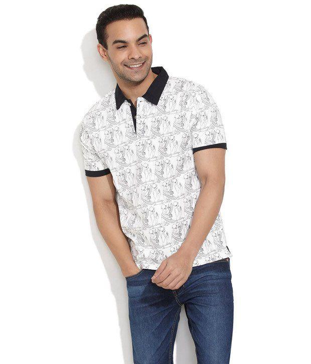 Slub White Half Cotton Round T-Shirt