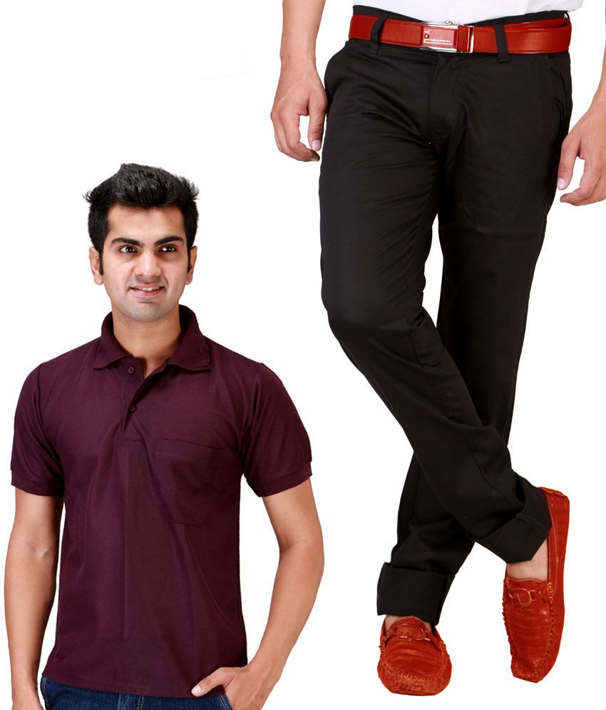 Sam & Jazz Coffee Brown Chinos   With Free Maron T-Shirt