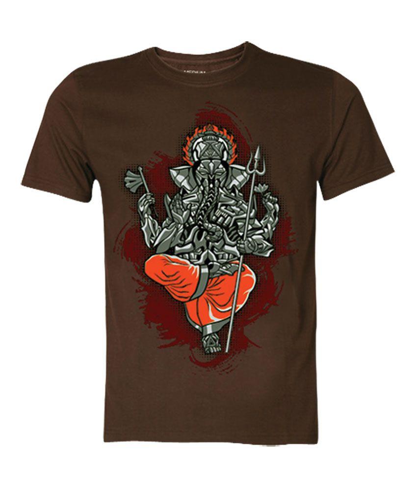 Wear Your Opinion Brown Half Cotton Round T-Shirt