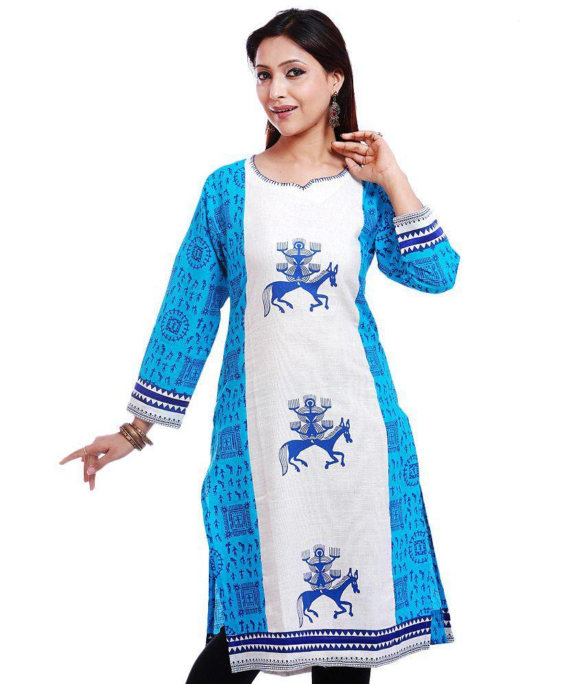LifenYou Blue Printed Cotton Medium  Kurti
