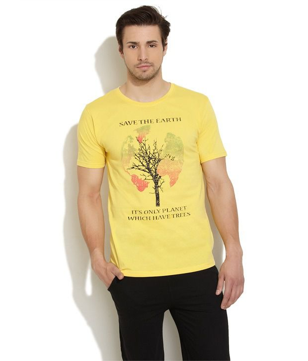 Urban Yoga Yellow Half Cotton Round T-Shirt