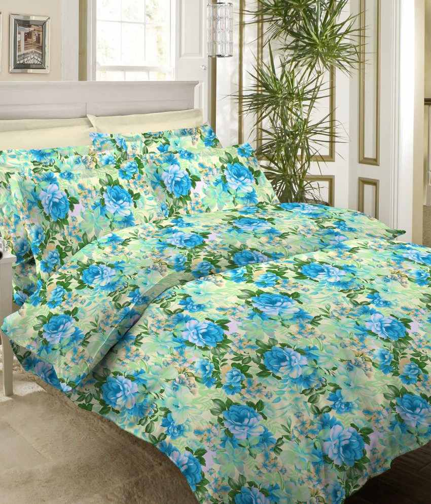 Floral cotton bed sheets - Bombay Dyeing Blue Floral Cotton Double Bed Sheet With 2 Pillow Covers Roseville