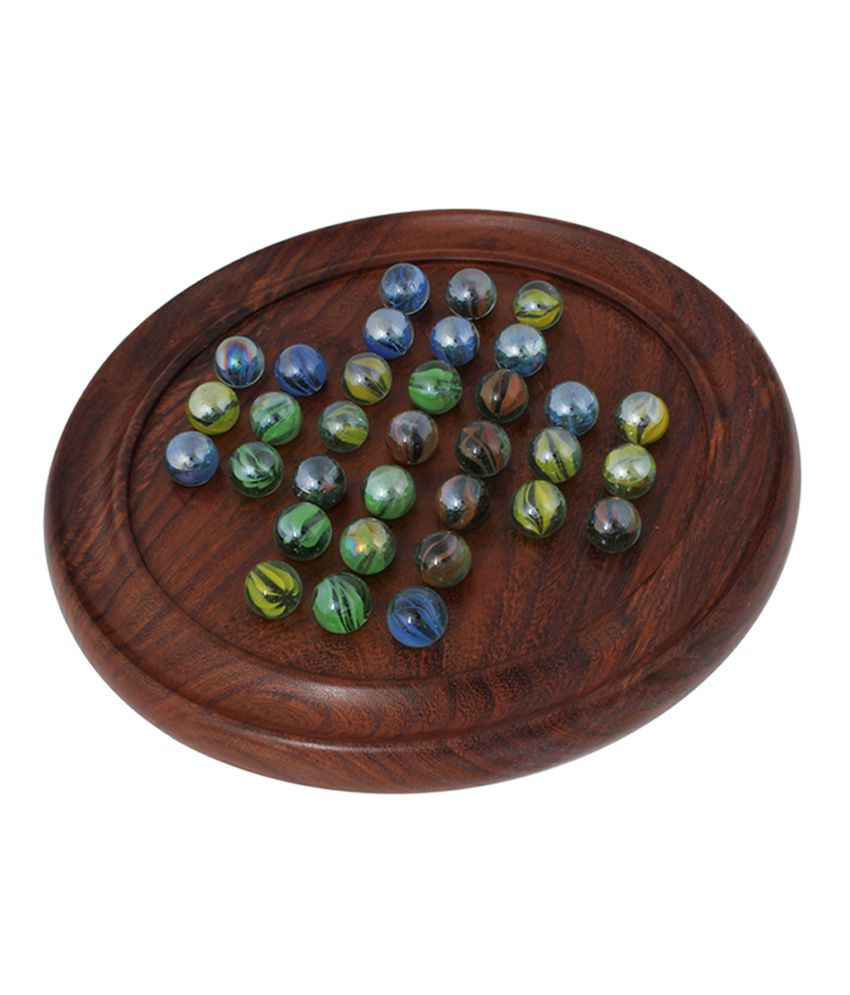 Wooden Solitaire Puzzles Game With Marbles Buy Online At