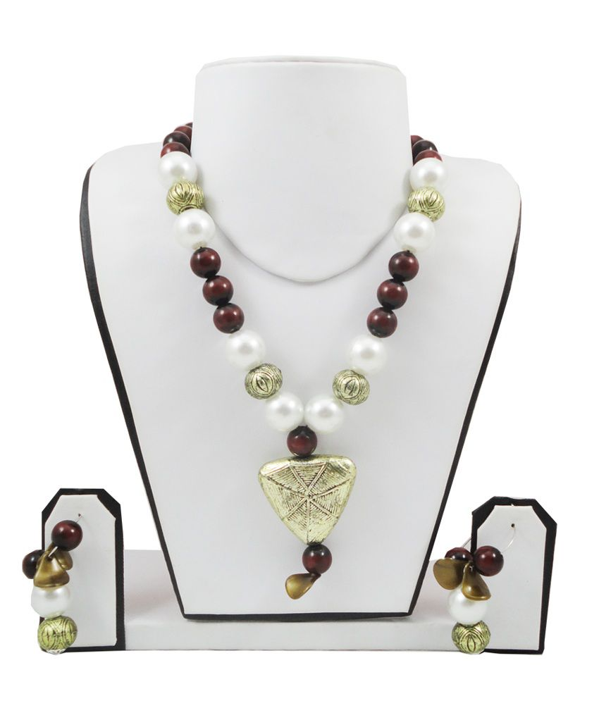 FashionValley Maroon & White Pearls Designer Antique Beads Necklace Set