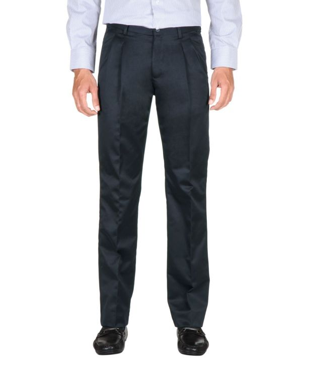 Peter England Navy Regular Formals Pleated