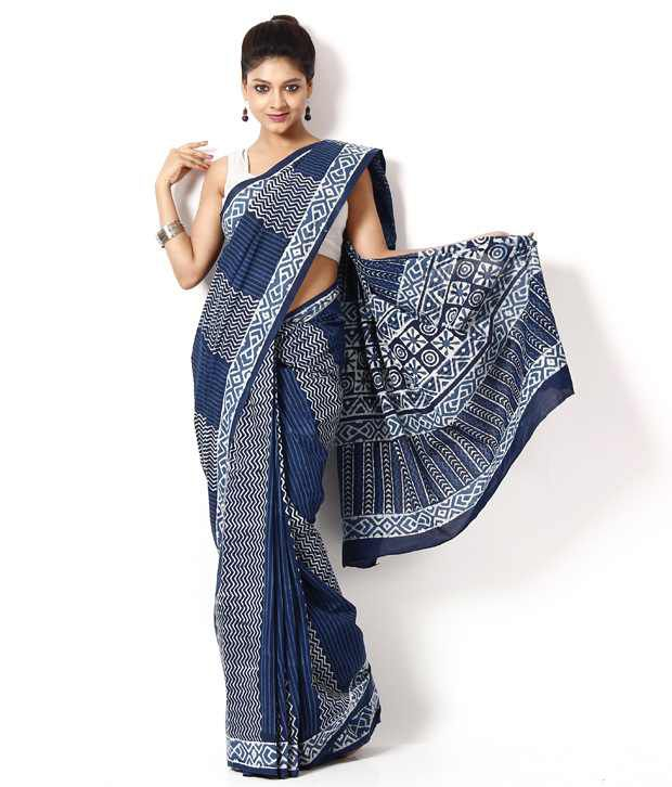 Bagru Hastkala Navy Blue Printed Cotton Saree With Unstitched Blouse