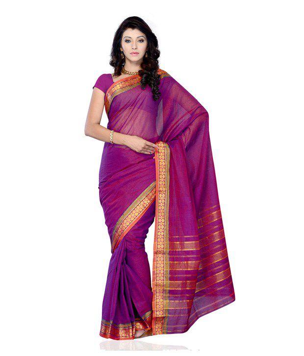 Cotton Bazaar Purple Cotton Saree