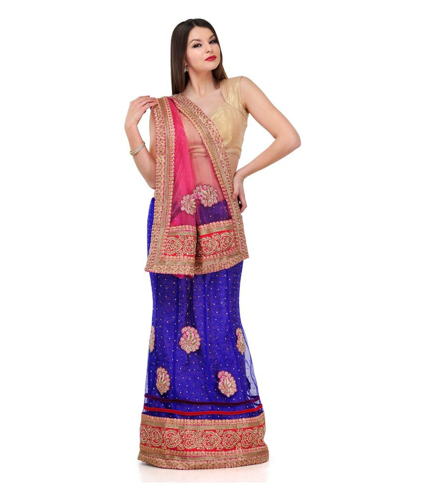 Fabroop Peach Royal Blue Net Lehenga Style Saree Buy Fabroop Peach Royal Blue Net Lehenga Style Saree Online At Low Price Snapdeal Com