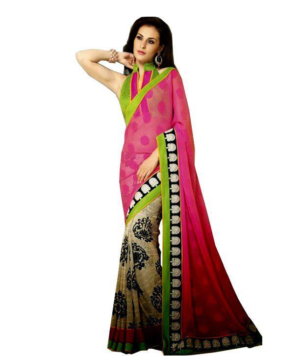 7cd0237b2d Fashionfibre Designer Wear Chiffon Saree In Double Colour With Printed &  Thread Embroidery Lace Border Work - Buy Fashionfibre Designer Wear Chiffon  Saree ...