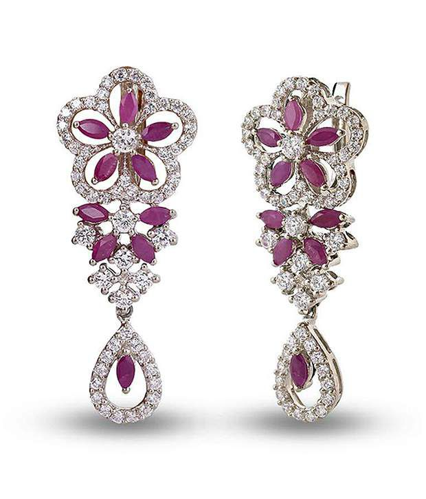 Shashvat Jewels 09kt Floral Pattern Marquise Gemstone Earrings