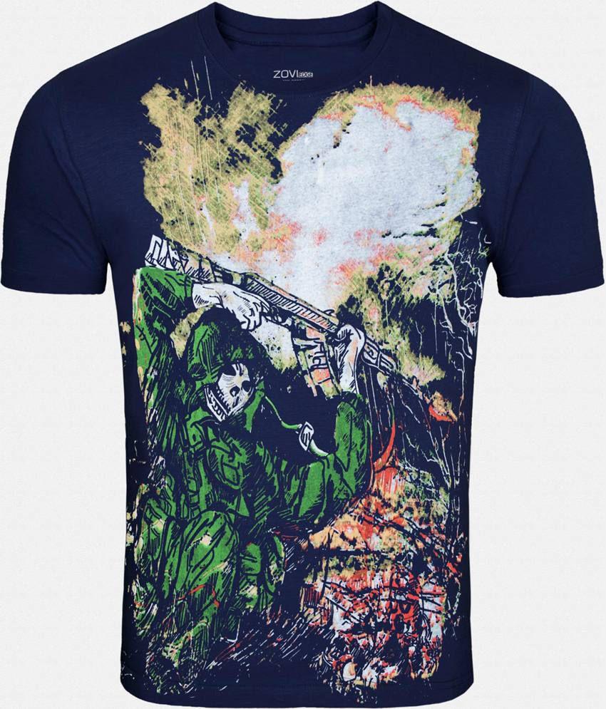 Zovi Navy Cotton T-Shirt