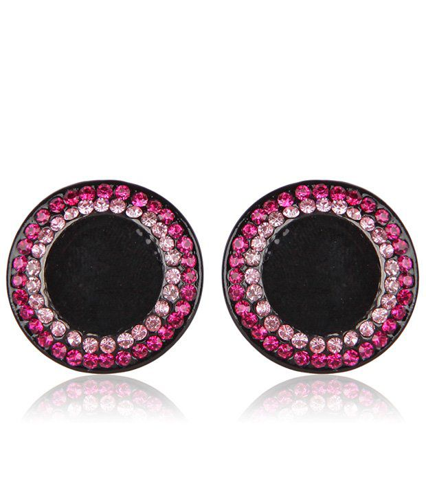 Fashionable Charming Round Multicolor CZ Stone Small Stud Earring
