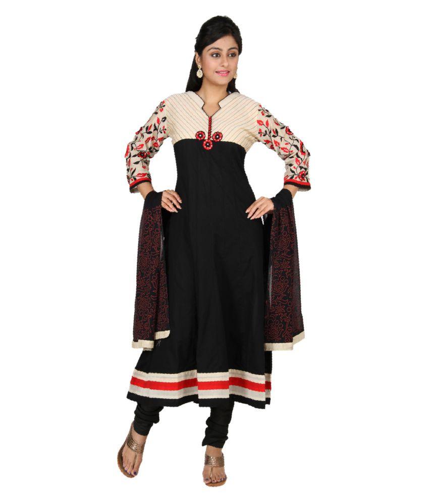 Sanskruti Creations Black Embroidered Cotton Stitched Anarkali