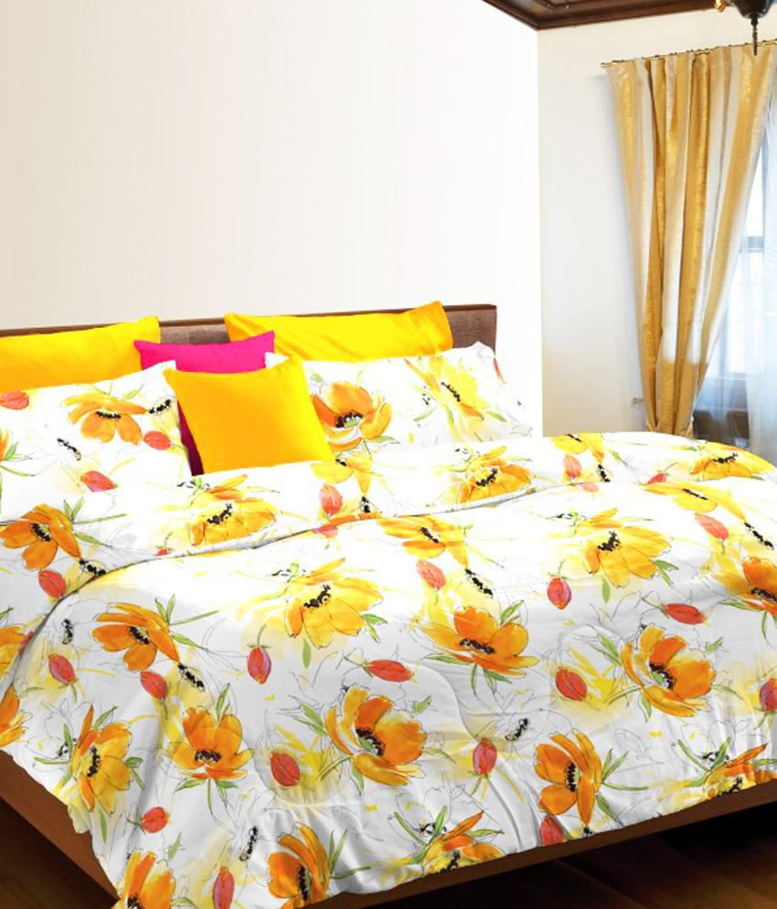 stellar home usa yellow floral cotton queen size bed sheet with 2 pillow covers buy stellar. Black Bedroom Furniture Sets. Home Design Ideas