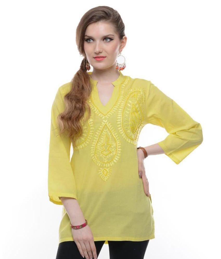 Myra Yellow Embroidered Cotton Short Kurti